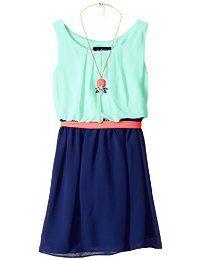 -Bloque del color del vestido sin mangas Amy Byer Big Girls '