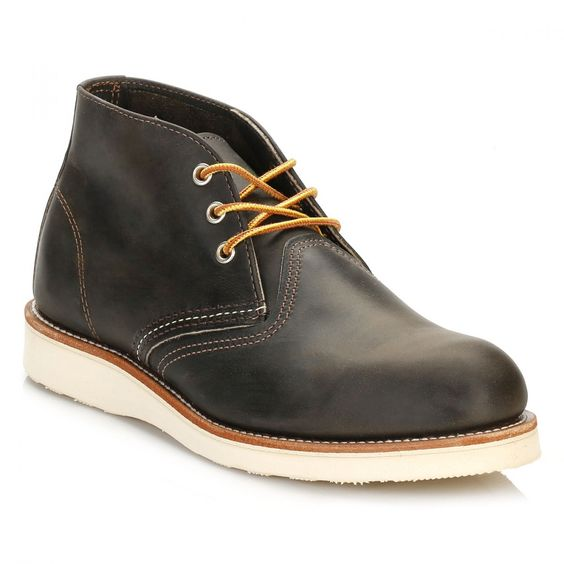 Red Wing Shoes Mens Charcoal Rough Work Chukka Boots 3150 | TOWER London