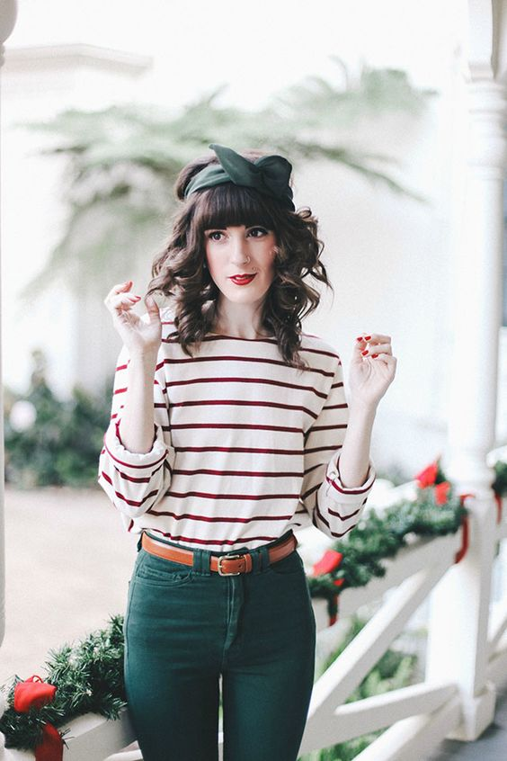 Stripes + forest green kinda in love with this. Maybe the pants could be cut differently, but other than that it's cute.: