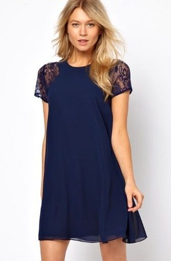 Navy blue shift dress - I would love this dress if the hem line ...