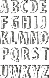 Vector of doodle font alphabet