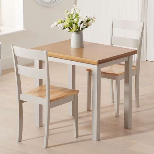 The Hasting 60cm Oak And Grey Extending Dining Table Seats 2