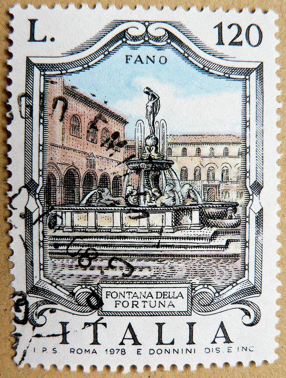 Great italian stamp Italy postage Lira 120 L. Fontana della Fortuna, Fano Regio Marche (fortune water well in Fano City)
