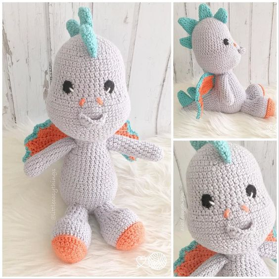 Spark the Dragon! Custom made for lovely @hildaandgus & I'm LOVING the colours she chose   Spark is very happy too & can't wait to meet his new little friend next week! xxx  Pattern by Lillellis @lilleliis_official & made with cotton yarn from @bendigowoollenmills  #littlecosythings #LCTdragons #sparkthedragon  #handmadetoys #softtoy #shopsmall #crochet #madeinaustralia #kidsfashion #halpaustralia #amigurumi #makersvillage #craftsposure #melbournemade #handmadeandlocal #handmadecurator…
