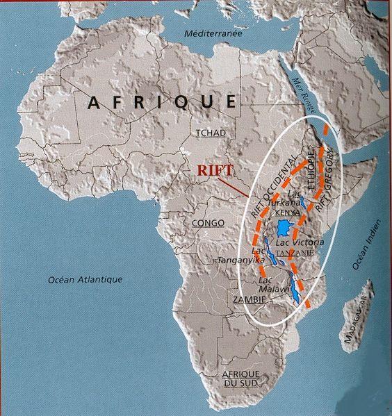 lucy-carte-du-Rift-australopitheque-fossile-3-2-millions-d-années-Hadar-rivière-Awash-Ethiopie-Afrique-.C'est dans l'Afar , Ethiopie, Afrique de l' Est que fut découvert le célèbre fossile Lucy.. Australopithecus afarensis.