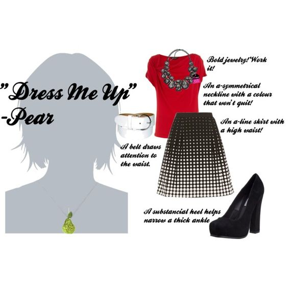 Dressing up a pear shape, skirt, heels, jewelry, and colour!