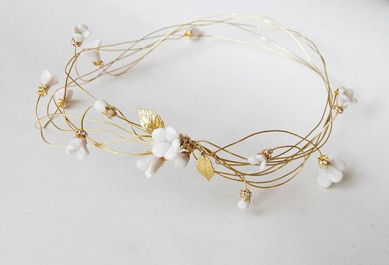 Bridal hair crown, clay flower headpiece, gold wire tiara, leafs hair wreath - wedding floral headpiece with rhinestone, ANNIE