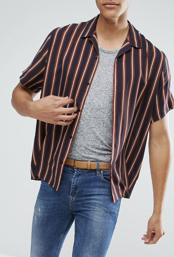 ASOS TALL Oversized Viscose Stripe Shirt With Revere Collar from ASOS (men, style, fashion, clothing, shopping, recommendations, stylish, menswear, male, streetstyle, inspo, outfit, fall, winter, spring, summer, personal)