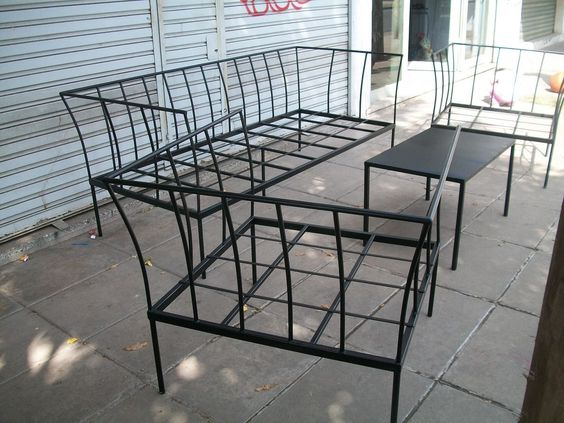 Juego de sillones de hierro ideales para jardin mesas y for Sillones para jardin exterior