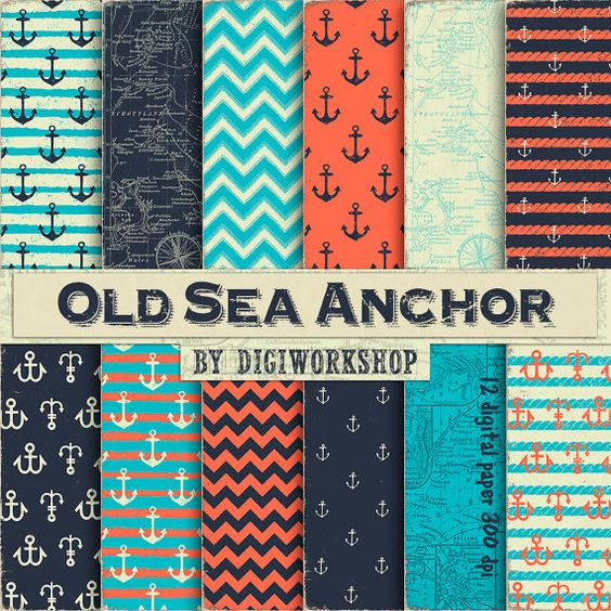 "Nautical Digital Paper - ""Old Sea Anchor"" set consisting of Nautical Paper, Nautical Backgrounds, Nautical Maps, Nautical Anchor"