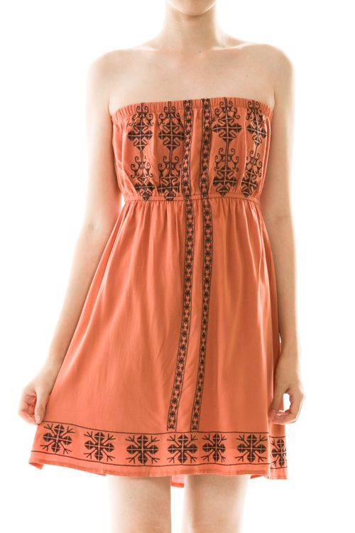 Strapless Embroidered Flared Dress