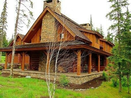 Stone deck log houses and porches on pinterest for Log cabin porches and decks