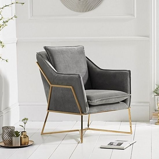 Baron Modern Accent Chair In Grey Velvet With Gold Frame With