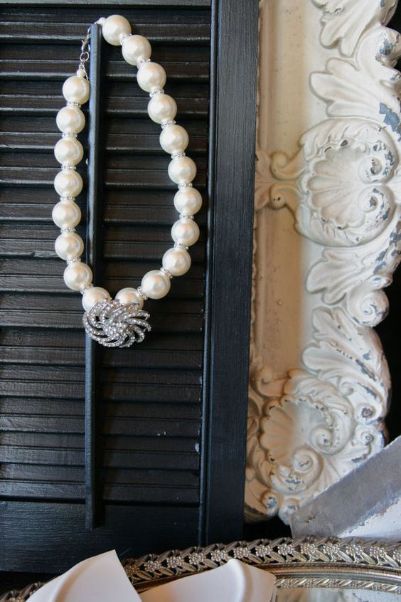 Chunky Pearl and  Removable Rhinestone Brooch Necklace on Etsy, $28.00