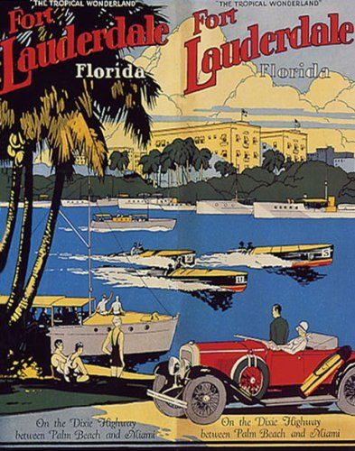 FORT LAUDERDALE PALM BEACH MIAMI VACATION TRAVEL TOURISM VINTAGE POSTER