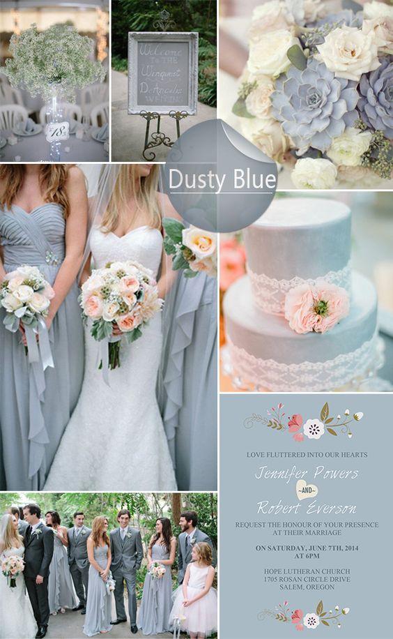 Dusty Blue Floral Bohemian Wedding Invitation Kits Ewi380