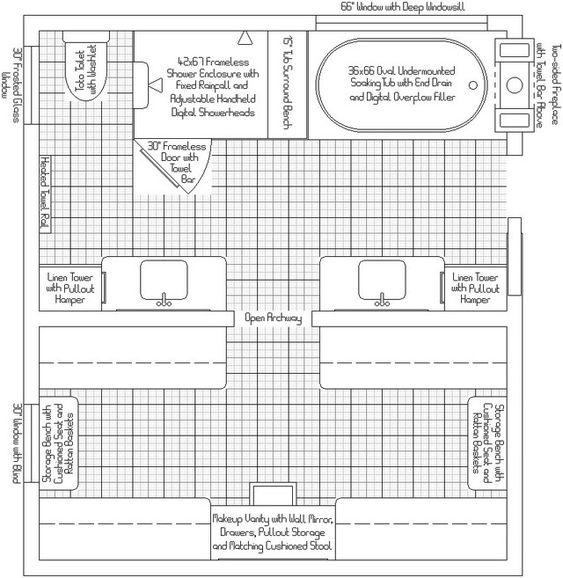 13 x 7 master bath plans master bath closet layout for Bathroom and closet combo floor plans