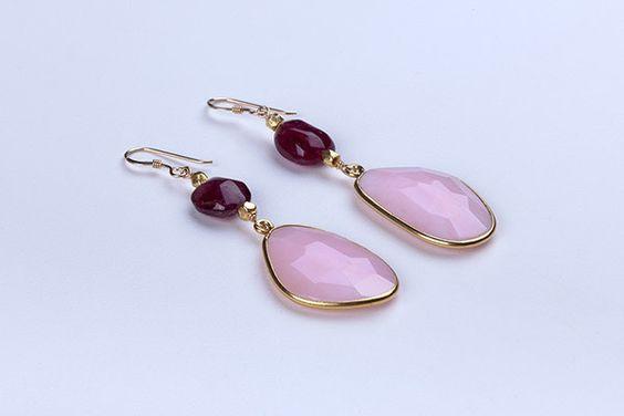 Hanging opal earrings