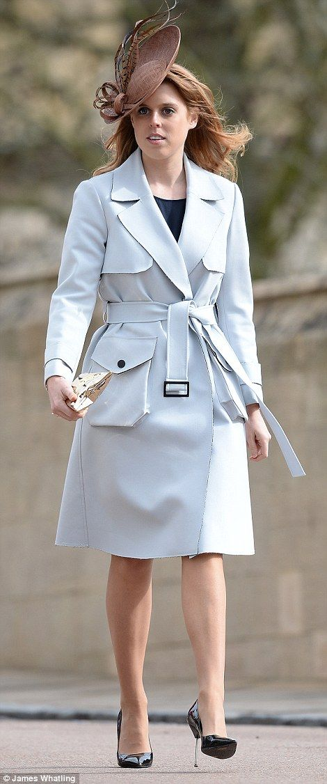 Beatrice wearing a Topshop coat, Anya Hindmarch clutch and Kurt Geiger shoes.