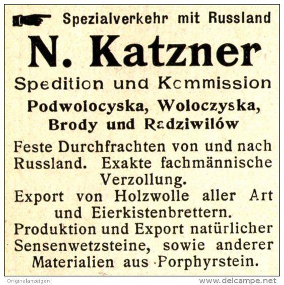 Original-Werbung/Anzeige 1905 - RUSSLAND / SPEDITION KATZNER/ PODWOLOCYSKA…