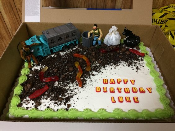 Trash Bash cake! Plain cake from Sam's Club. Crushed up Oreo cookies for dirt. Gummy worms, silver sprinkles and chocolate candy for toppings. Made the garbage bags from cut pieces of real bags stuffed with newspaper. Truck from Amazon and GI Joes from my sons collection.