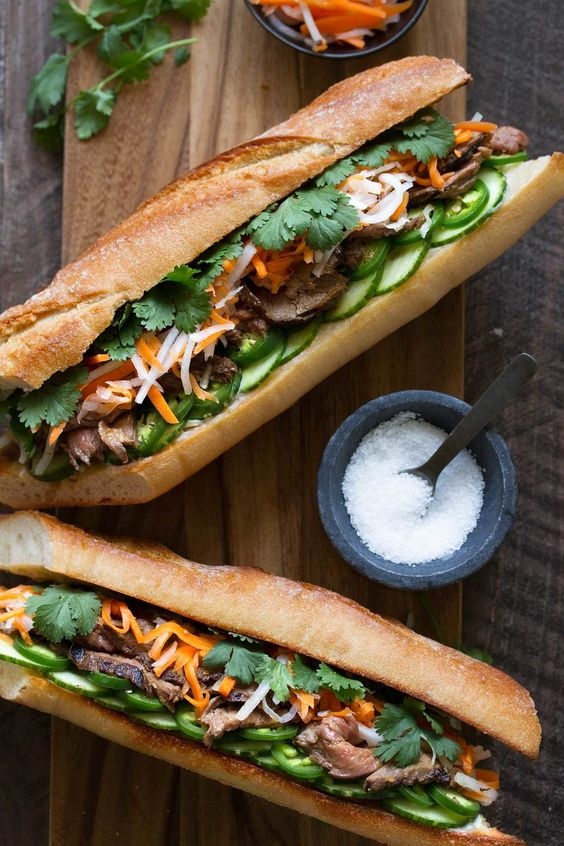 lemongrass beef banh mi sandwich recipe from cookingwithcocktailrings.com #sandwich #recipe
