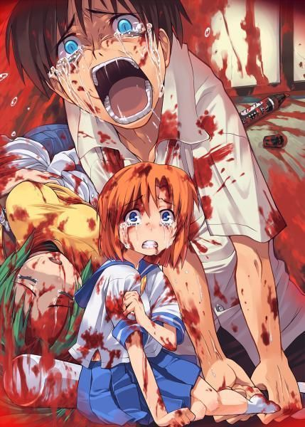 Higurashi is pretty brutal story as well, there is only one story but it's told from different angles and perspectives http://www.animecrazy.net/higurashi-no-naku-koro-ni-images/464/Image/8040: