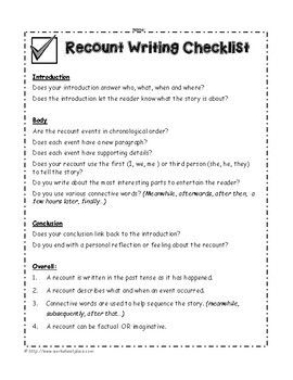 30+ Recount writing worksheets Images