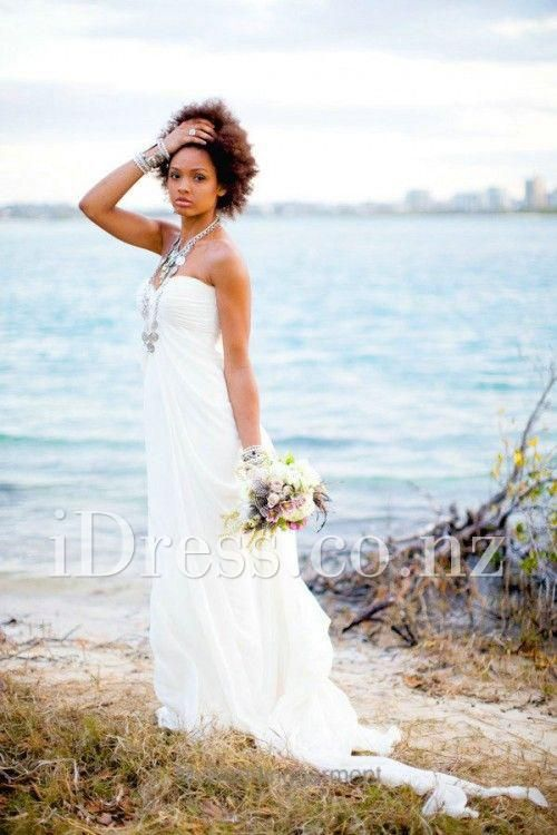 Hand Made Ruched Chiffon Empire Line Strapless Sweetheart Wedding Dress