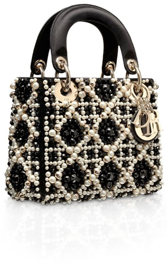 Lady Dior Black Embroidered with Pearls