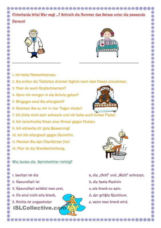 Beim Arzt | Printables, Student-centered resources and ...