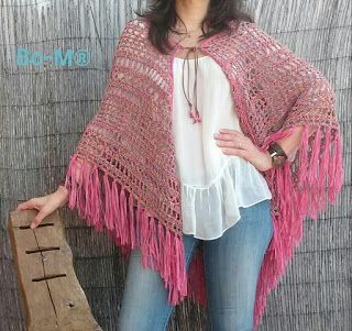 I love how a leather tie with beads on the end turns this fabulous shawl into a cardigan-of-sorts - on http://bo-m.blogspot.com.br