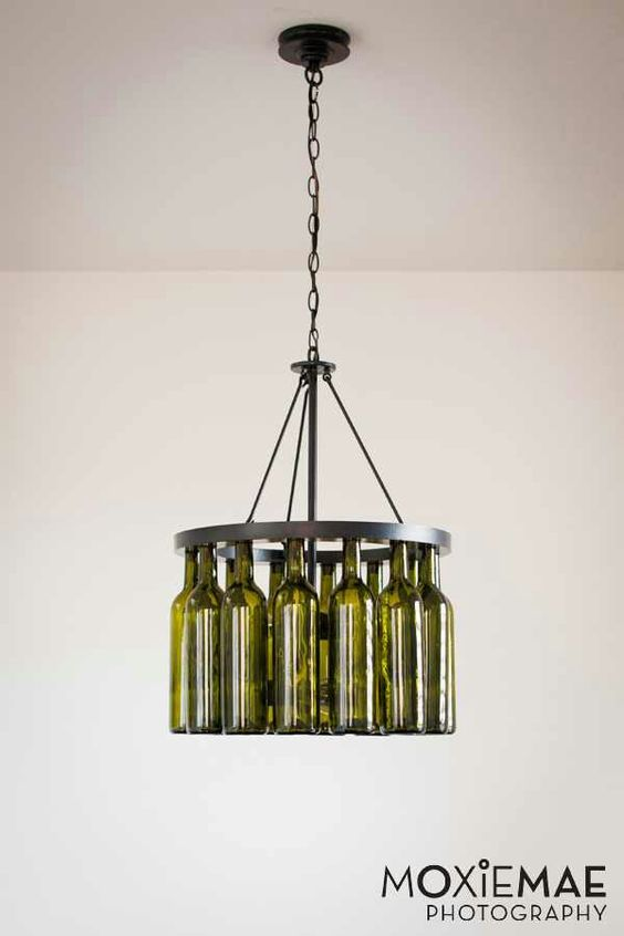 Diy wine bottle chandelier crafts pinterest bottle wine bottle chandelier and wine bottles - Wine bottles chandelier ...