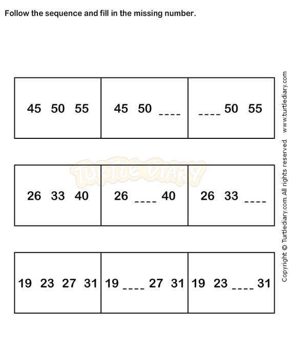 Number Sequence Worksheet 9 - math Worksheets - grade-1 Worksheets