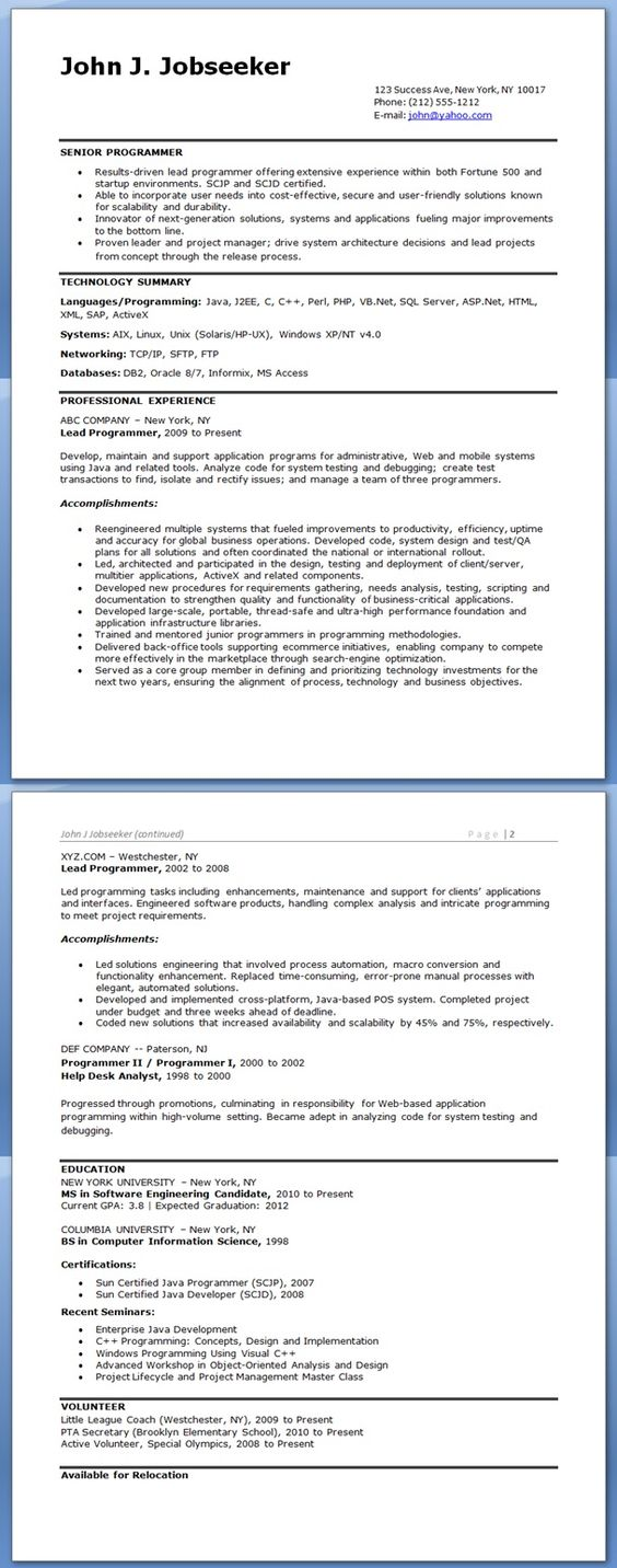 computer programmer resume exles school learning