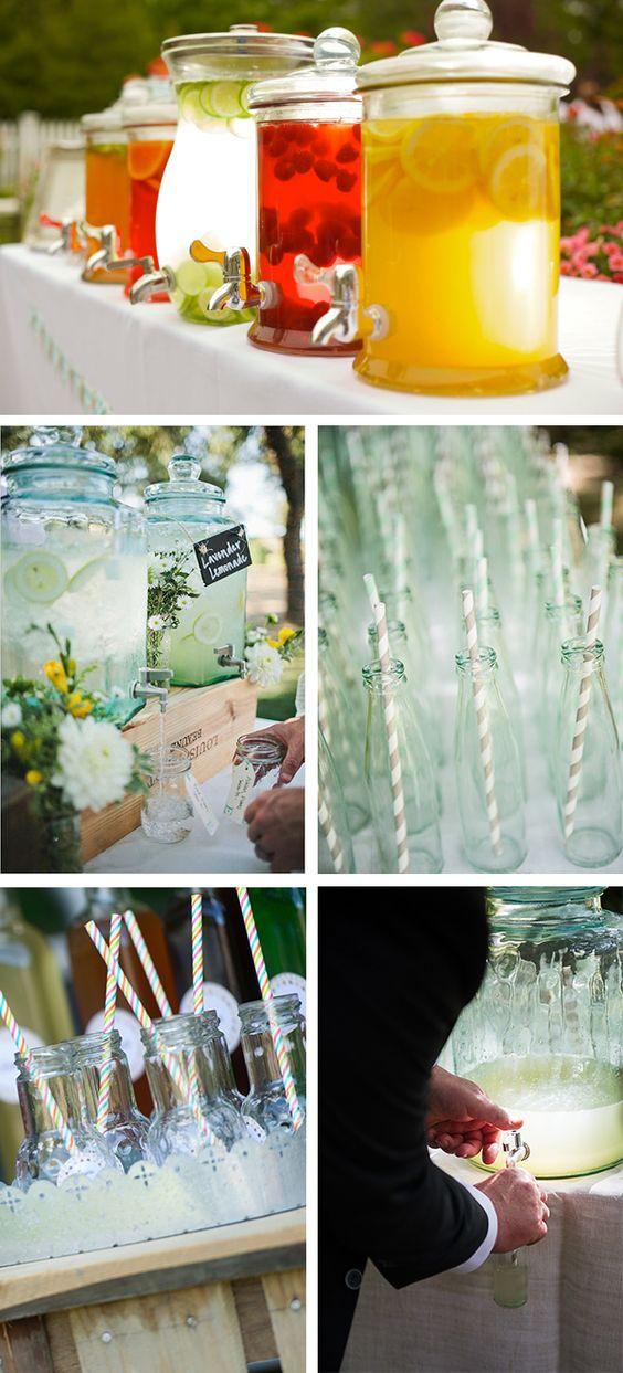 Pause rafraîchissante pour votre mariage ! Bar à jus, à citronnade, à thé... directement en bonbonnière pour apporter une touche déco sur votre buffet.