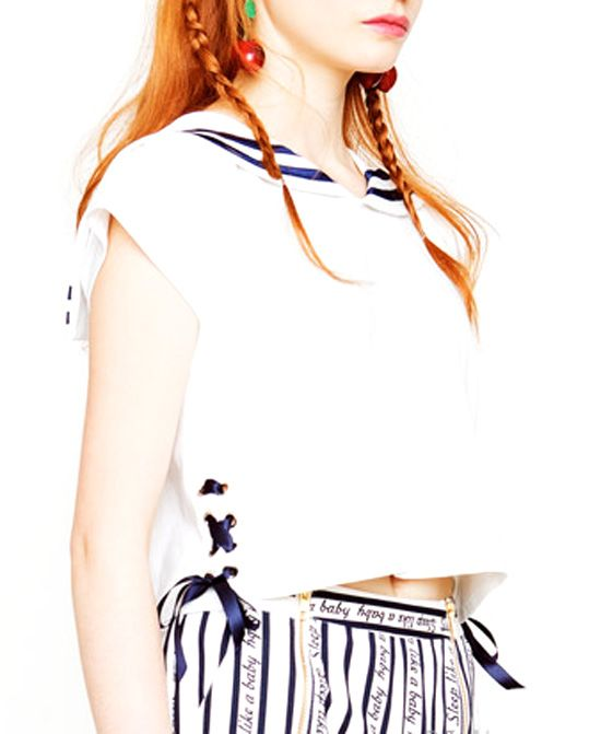 Navy Style Short Sleeves Crop Top - http://www.musteredlady.com/navy-style-short-sleeves-crop-top-3/  .. http://goo.gl/m5Xdsk