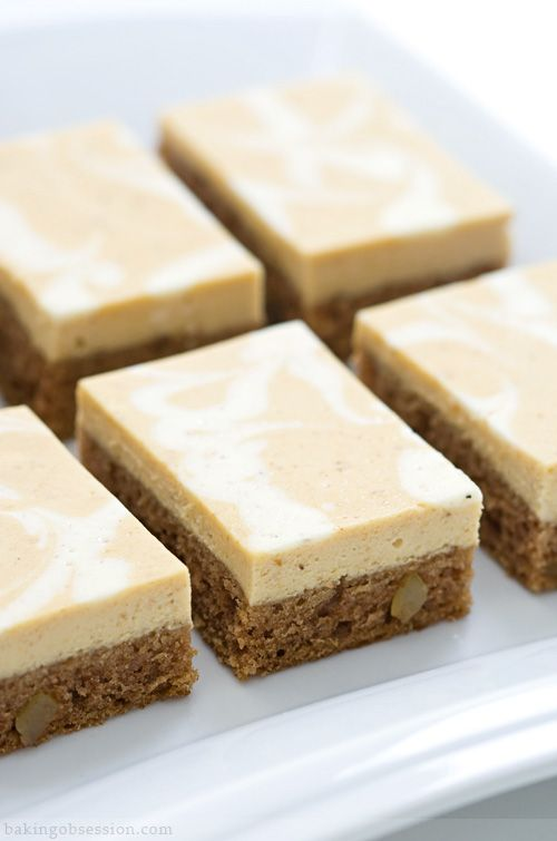 Pumpkin-Ginger Cake Bars w/ Pumpkin Cheesecake Topping