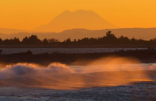 Ocean Shores, Wash. (© Kevin Ebi/Alamy) Pineapple Expresses from Hawaii can stir up waves three stories high on this coast, pounding the beaches between rocky Westport and sandy Ocean Shores, 135 miles southwest of Seattle...copied from MSN...ss