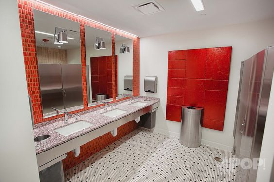 "Because no space is considered ""unimportant,"" check out the restrooms! #Rossetti #cooloffices #interiordesign #commercialdesign #bestdesign #workplacedesign #bestplacestowork #officeculture #bathroomdesign"