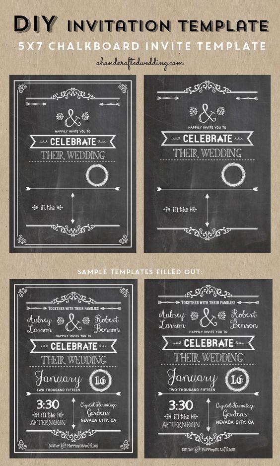 Check out this Printable DIY Chalkboard Wedding Invitation Template via ahandcraftedwedding.com #invitation #chalkboard