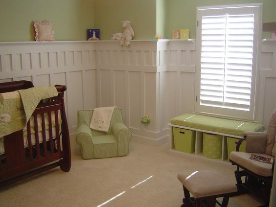 Wainscoting nurseries and waynes coating on pinterest for Arts and crafts wainscoting