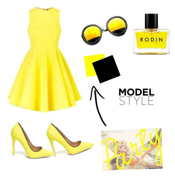 """Yellow style"" by reikaa on Polyvore featuring AQ/AQ, Revo and Rodin"