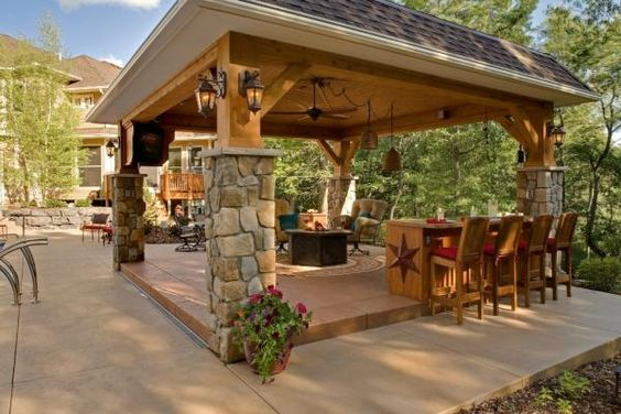 Backyard Gazebo With Fire Pit : Gazebo with Fire Pit  Outdoor Room with Fire Table  landscaping