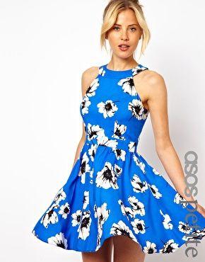 Image 1 ofASOS PETITE Exclusive Skater Dress In Floral Print