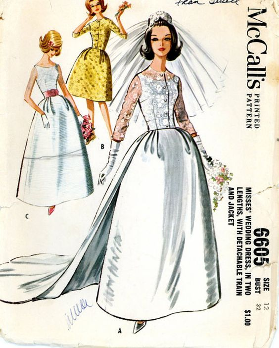 Image detail for -Vintage Sewing Pattern - 1962 Misses Wedding Dress in Two Lengths with ...