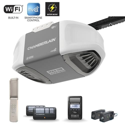 Chamberlain 1 1 4 Hp Chain Drive Garage Door Opener With Battery Backup 248 Menard S Garage Doors Garage Door Opener Smart Garage Door Opener