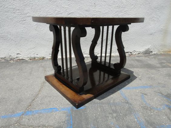 Lyre Design Walnut and Burl Wood End Table Los Angeles by housecandyla, $125.00