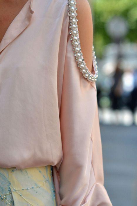 pastel and pearled shoulders: Pearl Shoulder, Cutout, Street Style, Open Shoulder, Shoulder Top, Shoulder Cut