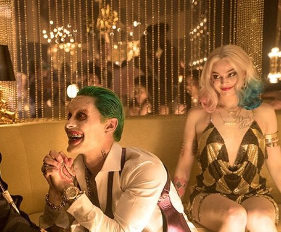 Margot Robbie as Harley Quinn and Jared Leto as The Joker in Suicide Squad